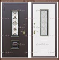 Входная дверь Венеция ковка РДК Антик медь / Ясень золотой 80 мм со стеклопакетом Россия