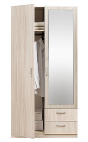 5.13Z Эко Шкаф 2-х дверный с ящиками с зеркалом