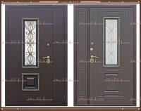 Входная дверь Венеция ковка РДК Антик медь / Венге графит 1200 х 2200 со стеклопакетом Россия