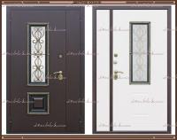 Входная дверь Венеция ковка РДК Антик медь / Ясень золотой 1200 х 2200 со стеклопакетом Россия