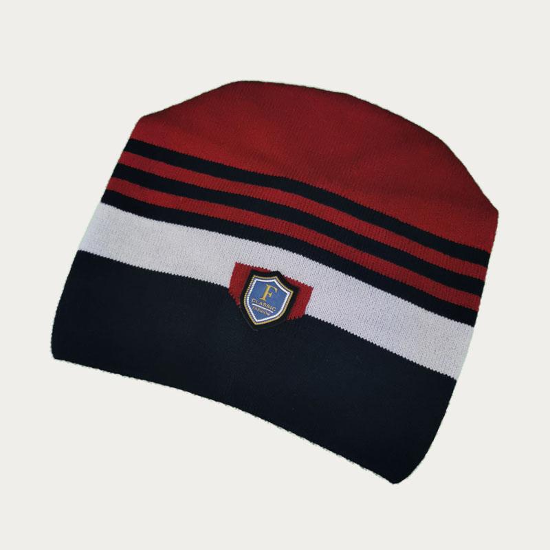 зм1208-06 Шапка конвертик вязаная Stripes бордо