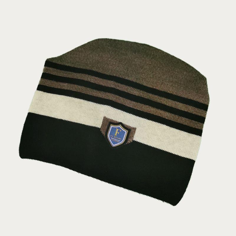 зм1208-67 Шапка конвертик вязаная Stripes шоколад