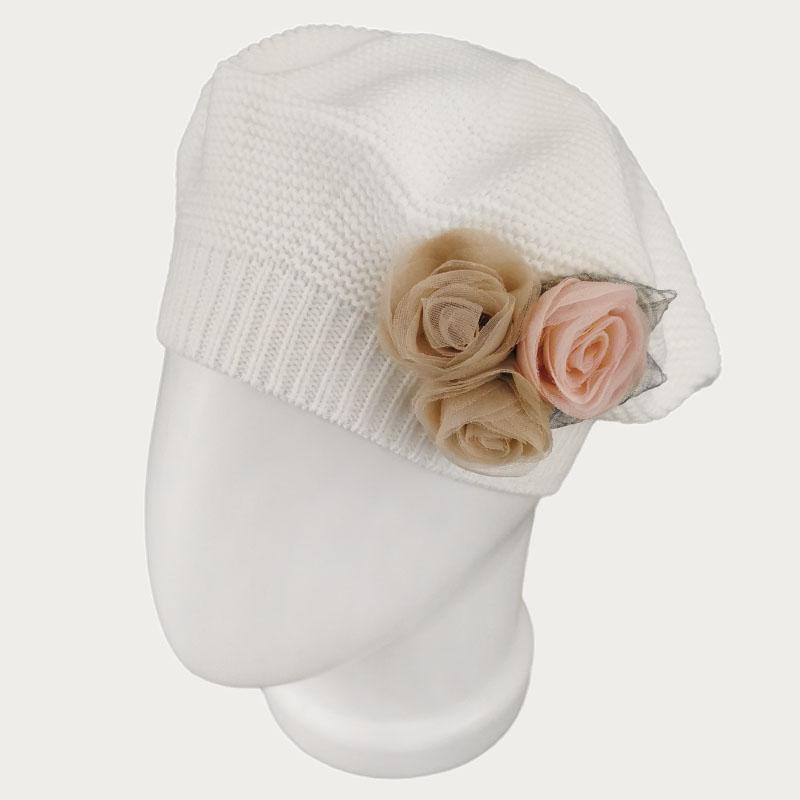 зд1234-32 Берет платочной вязки Флёр молочный