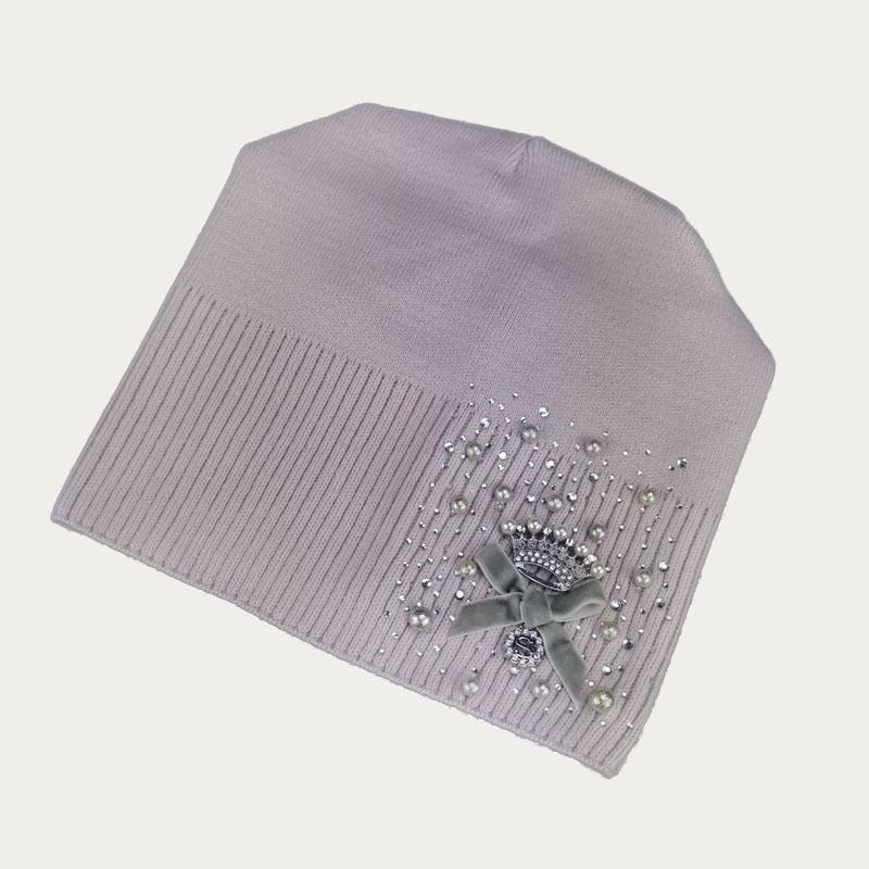 зд1235-37 Шапка вязаная конвертик Корона нежно-фиолетовая