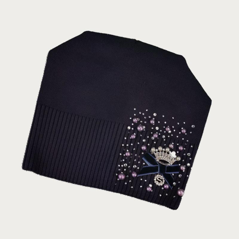 зд1235-59 Шапка вязаная конвертик Корона темно-фиолетовая