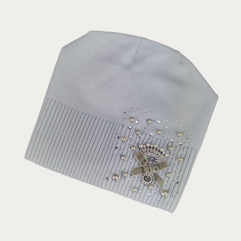 зд1235-72 Шапка вязаная конвертик Корона нежно-голубая