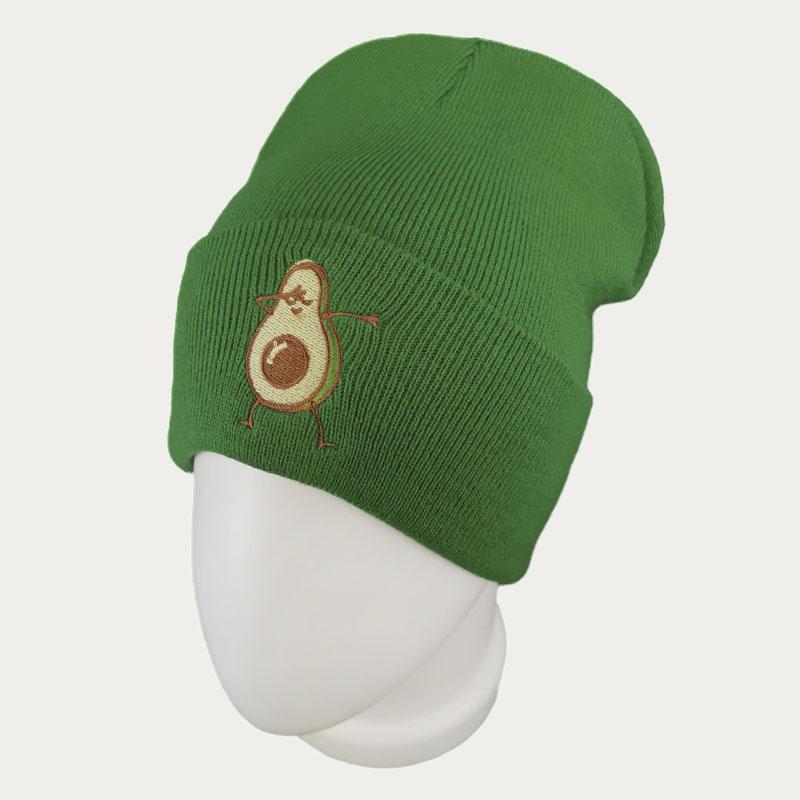 зд1236-17 Шапка вязаная с отворотом Авокадо зеленая