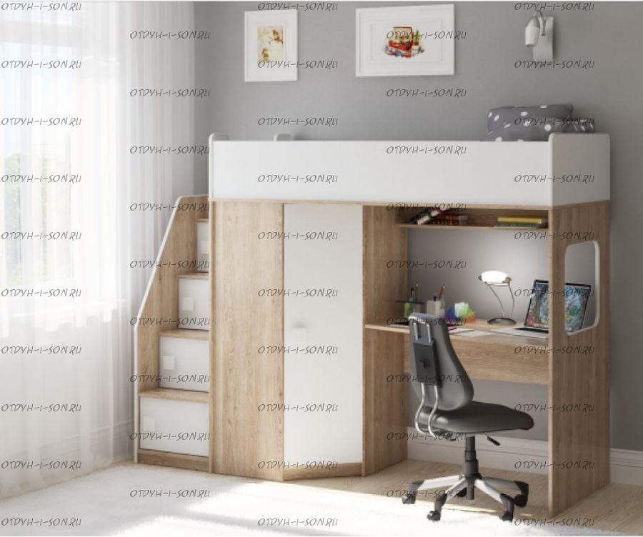 Кровать-чердак Легенда B604.3, два варианта цвета