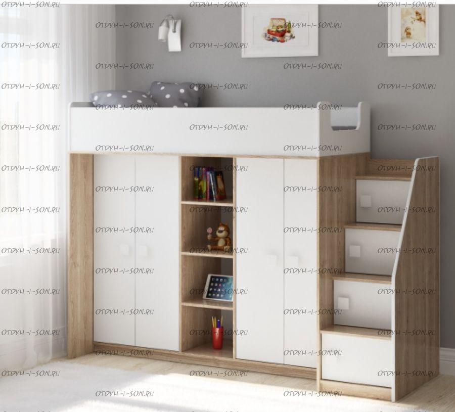 Кровать-чердак Легенда E602.3, два варианта цвета