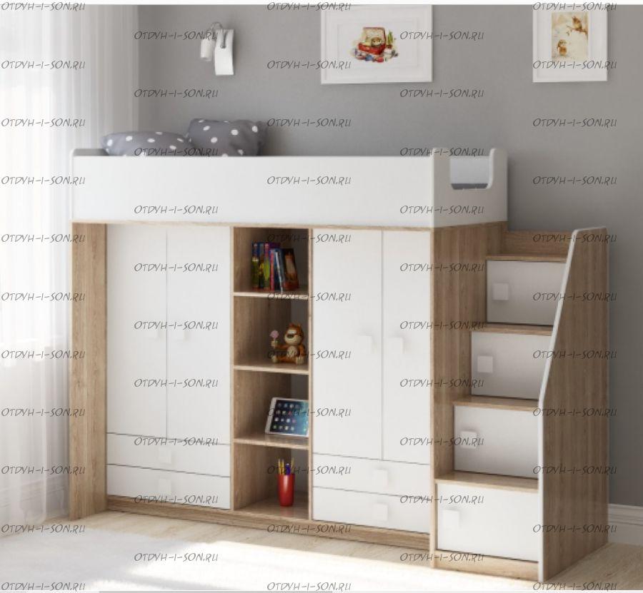 Кровать-чердак Легенда E604.3, два варианта цвета