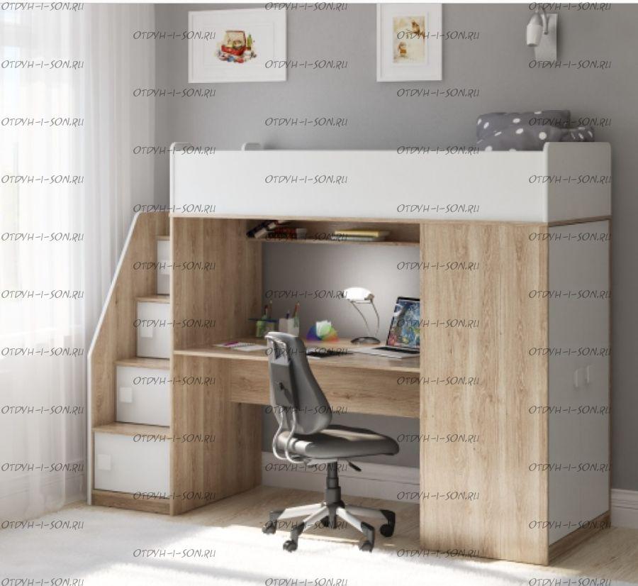 Кровать-чердак Легенда F606.3, два варианта цвета
