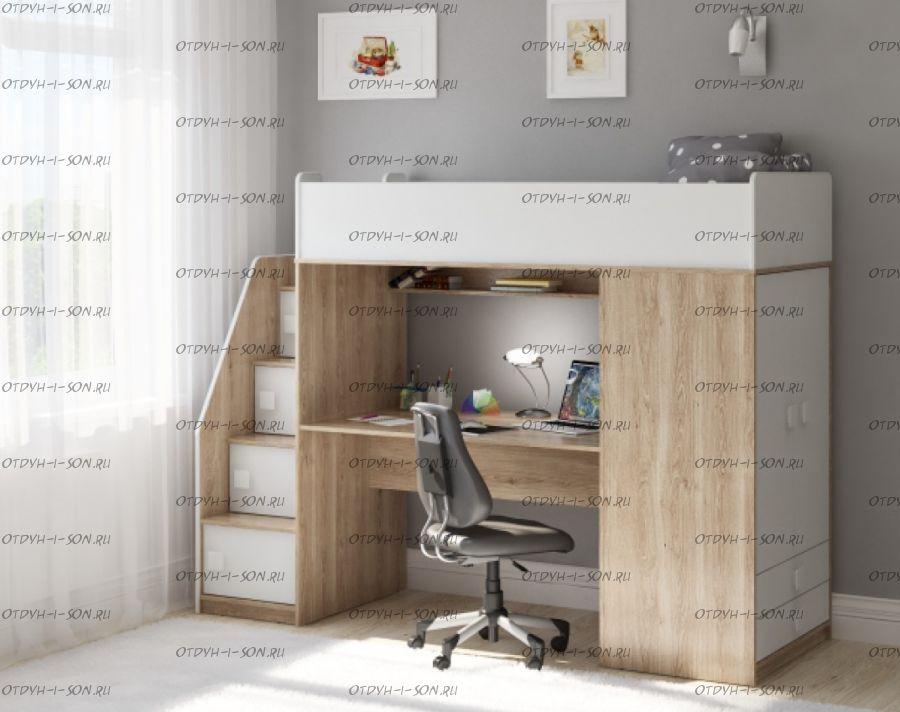 Кровать-чердак Легенда F608.3, два варианта цвета