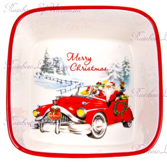 "Салатник новогодний 18 см ""Санта в авто"""