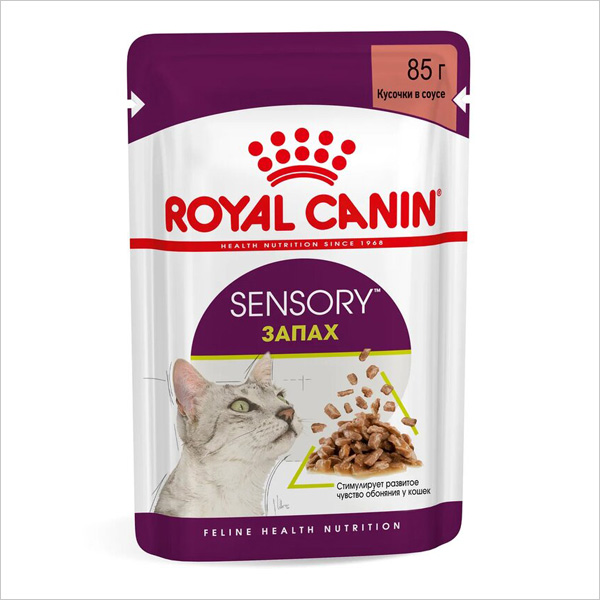 Влажный корм для взрослых кошек Royal Canin SENSORY SMELL стимуляция обонятельных рецепторов кусочки в соусе