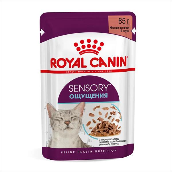 Влажный корм для взрослых кошек Royal Canin SENSORY FEEL стимуляция рецепторов ротовой полости кусочки в соусе