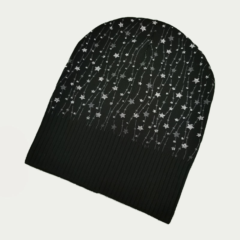 зд1240-65 Шапка вязаная одинарная удлиненка Звездочки черная