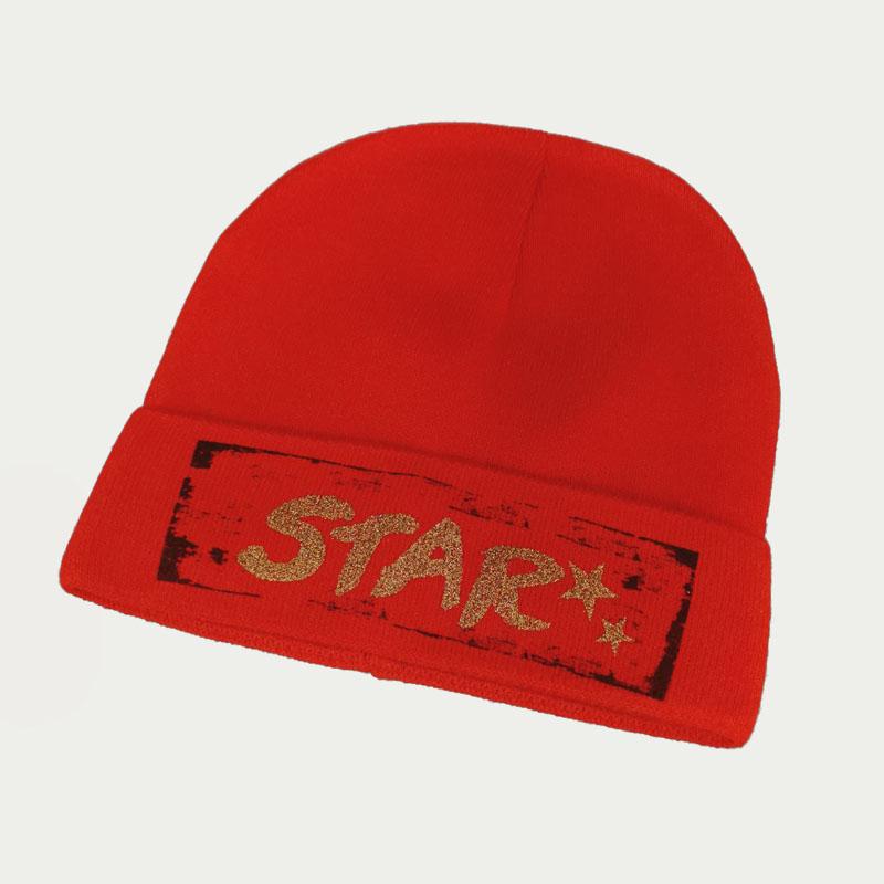 зд1241-23 Шапка вязаная одинарная с отворотом STAR красная