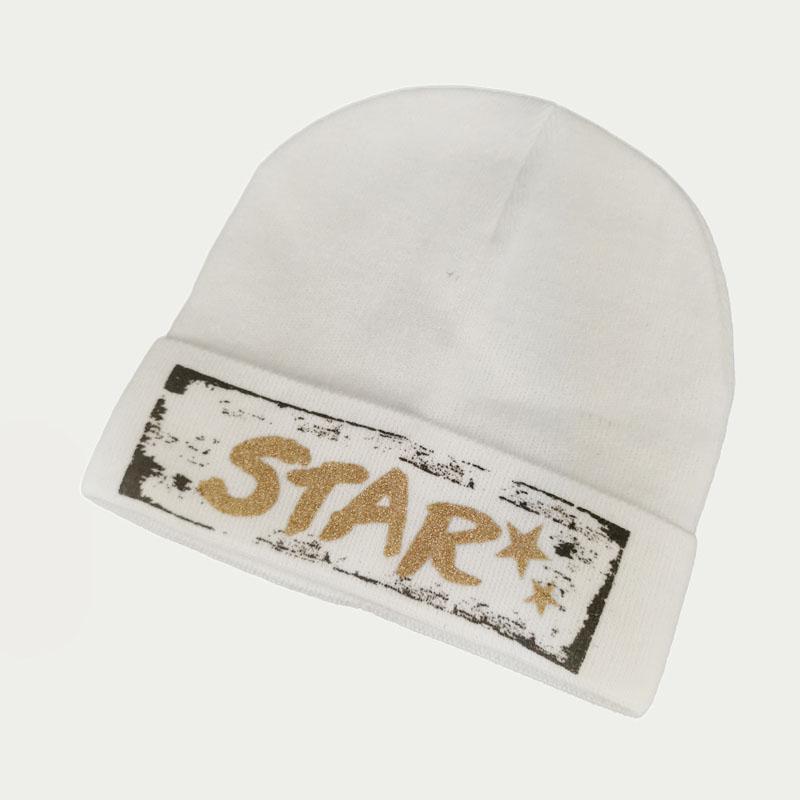 зд1241-32 Шапка вязаная одинарная с отворотом STAR молочная
