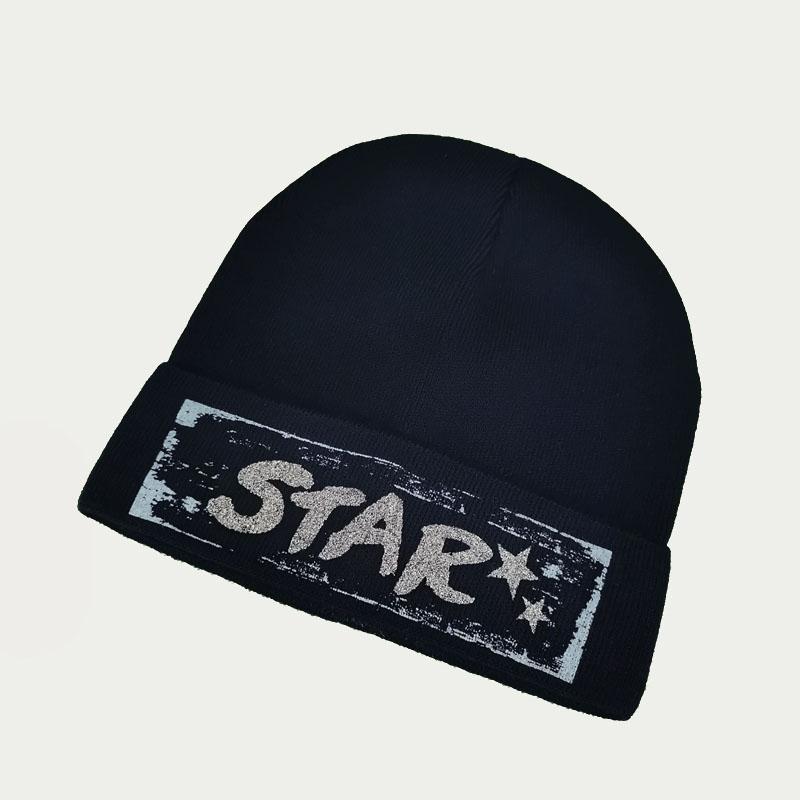 зд1241-58 Шапка вязаная одинарная с отворотом STAR темно-синяя