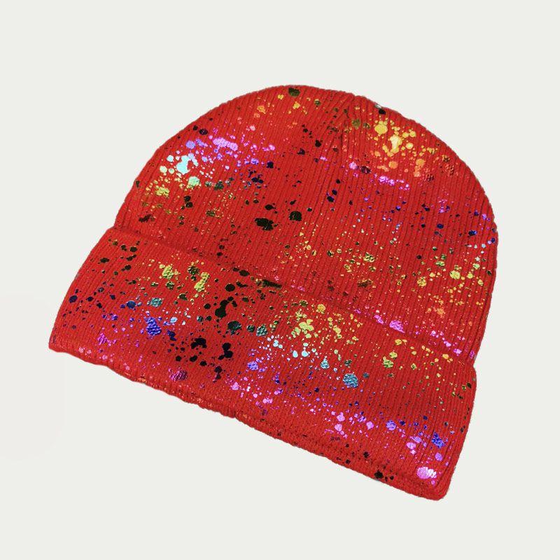 зд1242-23 Шапка вязаная одинарная отворотом Фольга красная