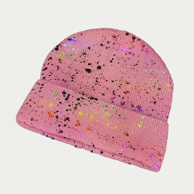 зд1242-47 Шапка вязаная одинарная отворотом Фольга розовая