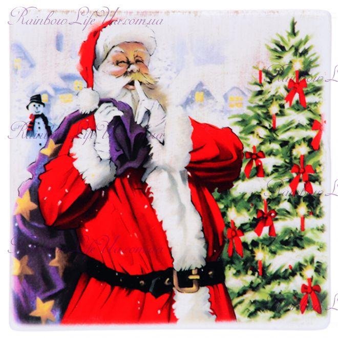 """Подставка под чашку """"Санта Клаус с мешком"""""""