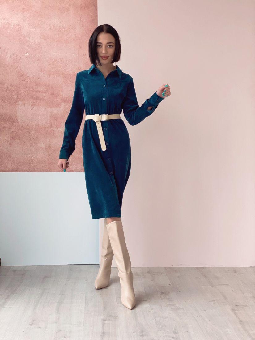 197 Платье из вельвета синее