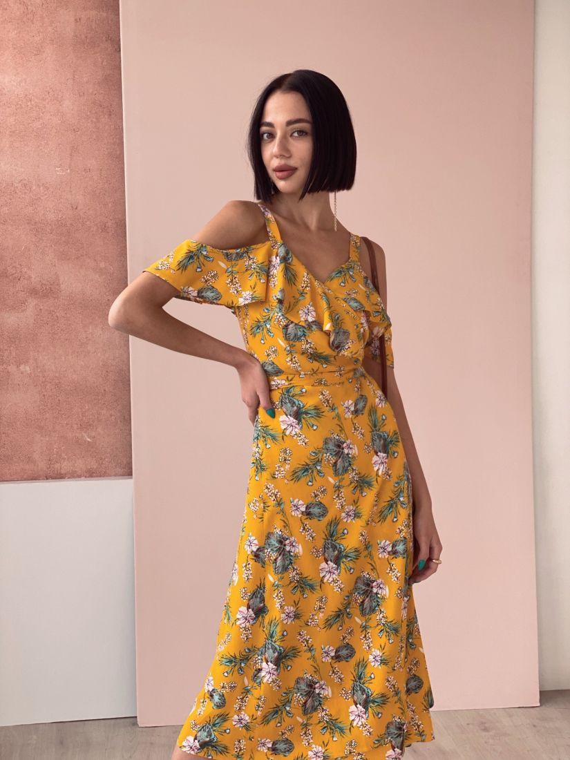 4578 Сарафан в цвете манго с листьями