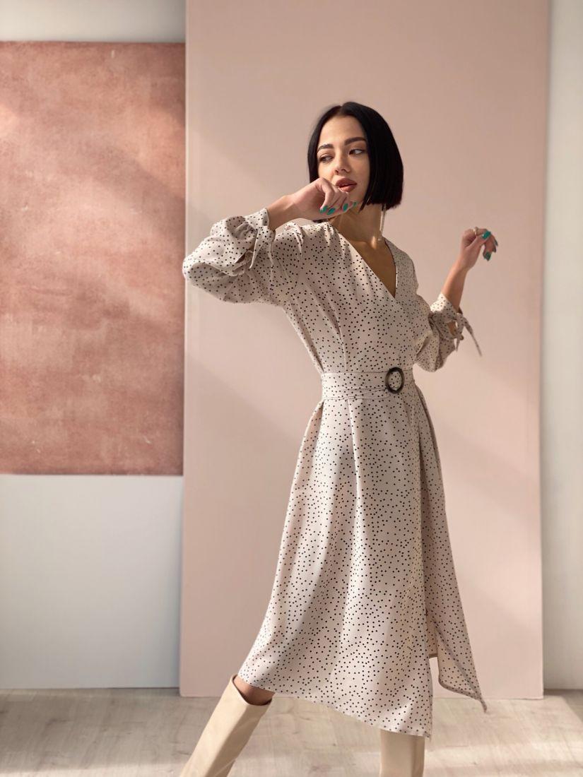 4581 Платье с имитацией запаха в горошек