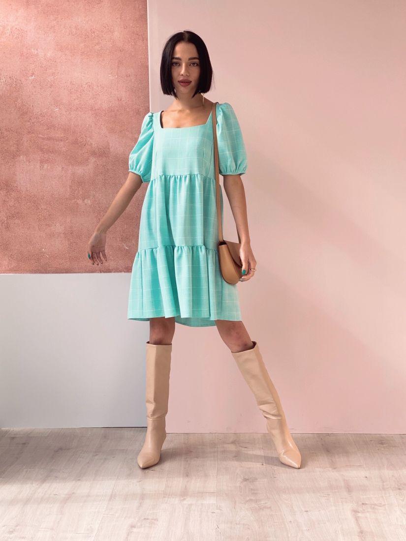 4590 Платье-парашют ментоловое в клетку
