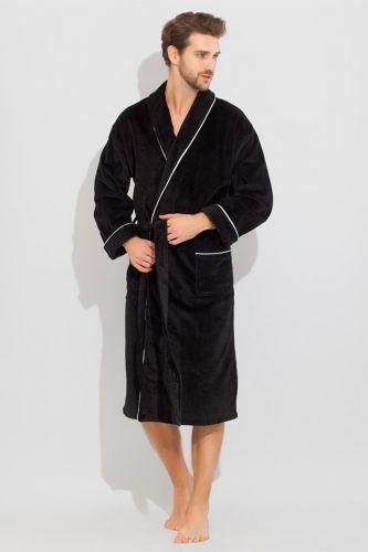 Мужской махровый халат Elegant черный