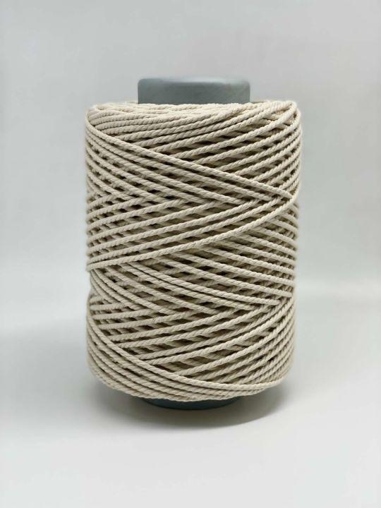 Хлопковая витая веревка 4 мм. Неокрашенный