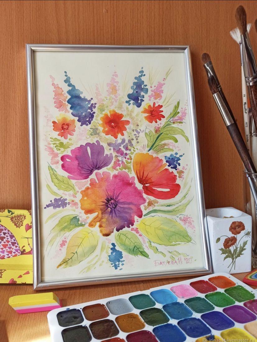 Яркая картина с цветами. Абстракция