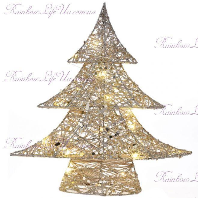 Новогодняя металлическая елка со светом 40 см