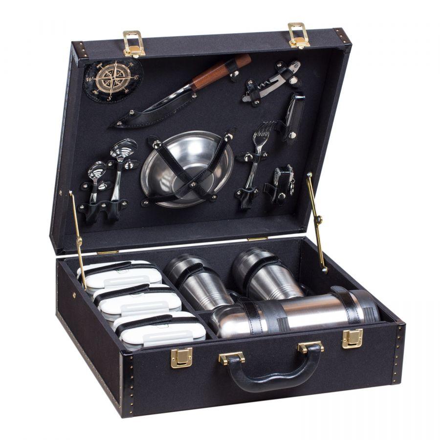 Набор посуды для поездок «Авто-Комфорт кожа-ткань черный» (2 персоны)