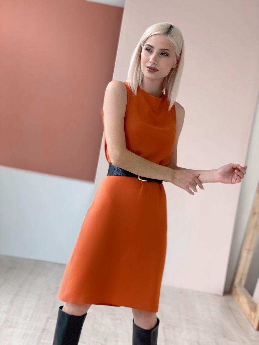 4600 Платье базовое оранжевое