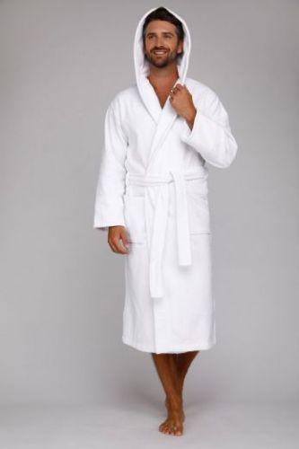 Мужской махровый халат с капюшоном Sport&Life белый