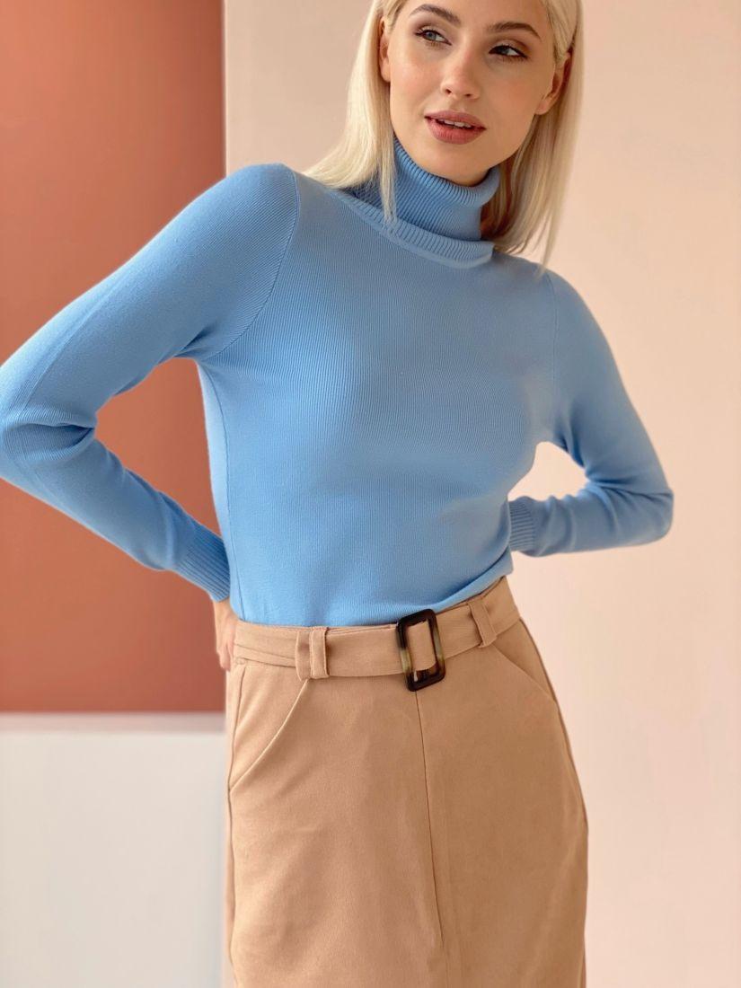4609 Тонкий вискозный свитер голубой