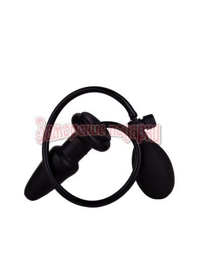 Черная анальная втулка-расширитель с грушей - 11,5 см.