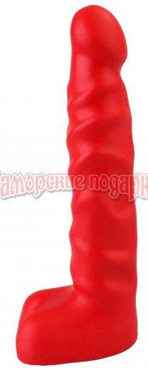 Красный анальный стимулятор с мошонкой - 14 см.