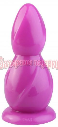 Розовая рельефная анальная втулка - 28,5 см.