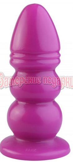 Розовая рельефная анальная втулка - 33,5 см.