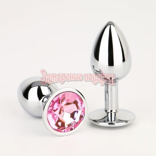 Серебристая анальная втулочка с розовым кристаллом - 7 см.