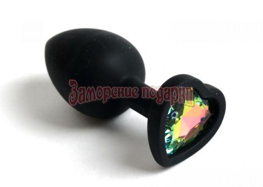 Черная анальная силиконовая пробка с радужным стразом-сердцем - 7,5 см.