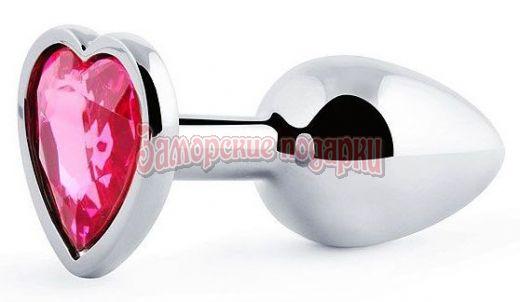 Серебристая анальная пробка с малиновым кристаллом-сердечком - 7 см.