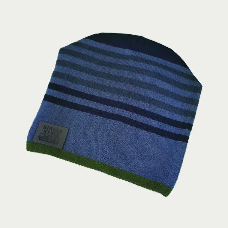 зм1209-1558 Шапка вязаная одинарная конвертик полоски SRS джинс/темно-синий
