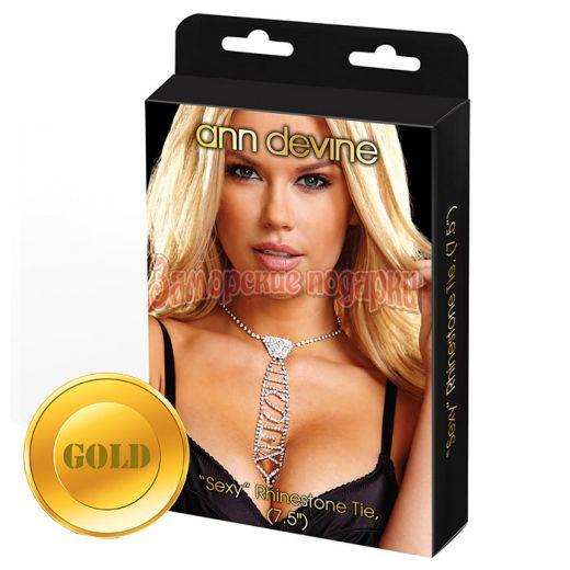 Золотистый галстук из кристаллов SEXY
