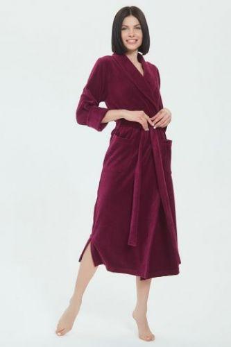 Женский велюровый халат Curves рубиновый