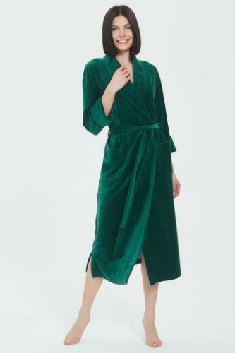 Женский велюровый халат Curves изумрудный