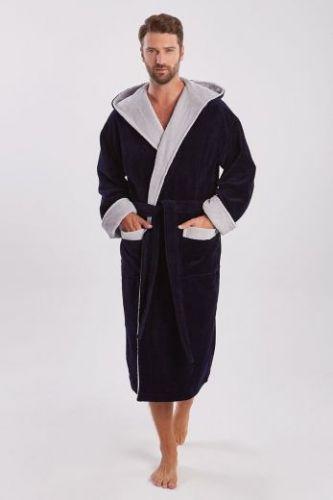 Мужской махровый халат с капюшоном Zeus темно-синий